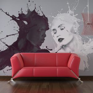 interior design red couch white wall